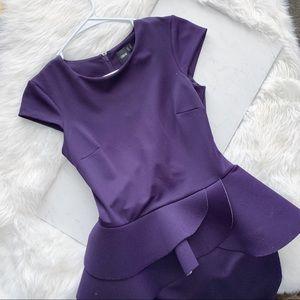 ASOS • Plum Peplum Fitted Scuba Dress